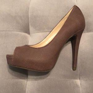 Guess mauve peep toe heels.
